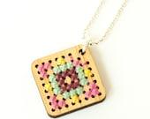 Modern Cross Stitch Jewelry Kit - Bamboo Diamond Pendant with Multicolor Patterns
