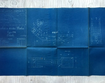 French industrial engineering blueprint, circa 1930s. Wonderful dark teal colour. Size: 31 x 18 1/2  inches, 785 x 470 mm. Gift for guys.