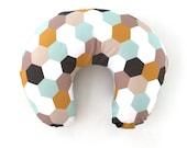 Boppy Cover Mint Gold Hexagons. Boppy. Nursing Pillow. Boppy Pillow Cover. Boppy Slipcover. Minky Boppy Cover. Mint Boppy Cover.
