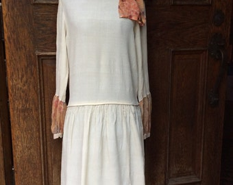 1920's 30's Darling Art Deco Flapper Girl Ivory Crepe Drop Waist Dress