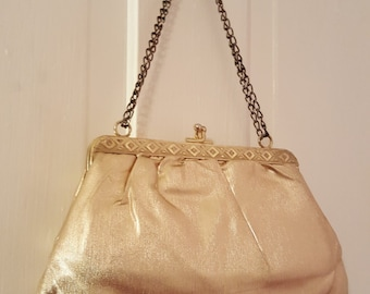 METALLIC GOLD LAME Purse // Vintage Party Double Chain Link Strap 80's Frame Bag Disco 70's Geometric Metal