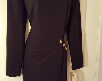 J.B. WRIGHT Ltd. LBD Dress // 80's Deadstock New Old Stock Black Button Down Dress Size 10 Classic Gold Bronze Buttons New Wave Long Sleeve