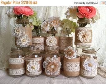ON SALE 10x natural color lace and burlap covered mason jar vases, wedding, bridal shower, baby shower decoration