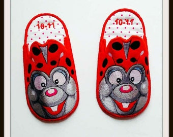 Ladybug Slippers, Kids Slippers, Childrens Slippers, Bedroom Slippers, House Shoes, Bedtime Slippers