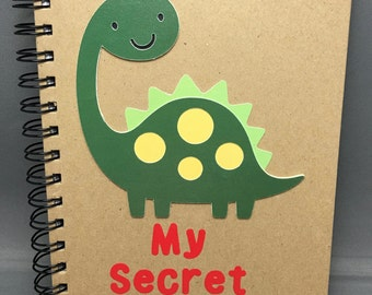 A5 Personalised long necked dinosaur secret notebook with Choice of Colours