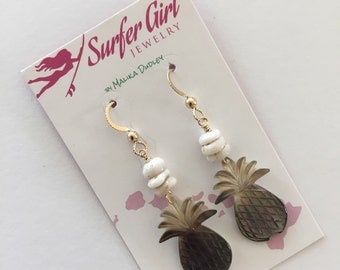 Pineapple puka shell mother of pearl gold fill earrings