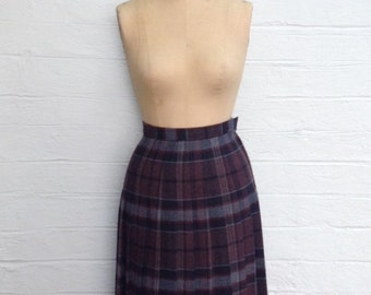 1970s JH Collectibles Plaid Skirt - Pleated Wool and Polyester School Girl Skirt ILGWU