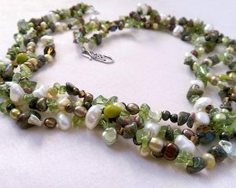Seaweed green Pearl, Peridot & Unakite multi-strand necklace.  June and August Birthstones