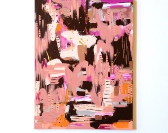 18 x 24 Painting on Canvas / OOAK / Modern Art / Abstract Art / brown coral pink / kids room wall decor office / unique gift