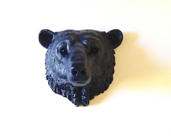 Faux Taxidermy NAVY BLUE Polar Bear Large wall mount wall hanging faux taxidermie faux animal kids room / arctic animal / faux animal head /