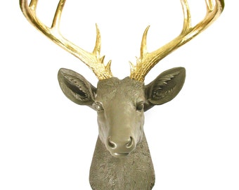 LITE Brown GOLD XL Faux Taxidermy Deer Head wall mount wall hanging / stag / faux animal head / tan / nursery decor / kids room wall decor