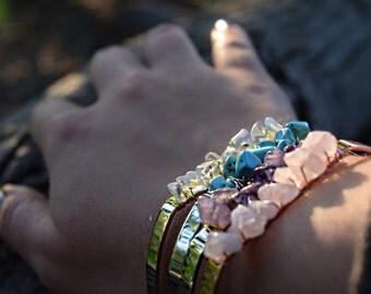 Crystal bracelet / quartz bracelet / crystal chip bangle / quartz cuff