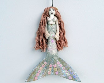 Mermaid hanging ornament, peg doll, OOAK unique decor