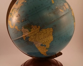 Vintage Replogle Tin Litho Globe --1950s, 8 Inch Simplified Globe, 11 Inches on Stand -- Faux Wood Base, Historical, for Desk or Bookshelf