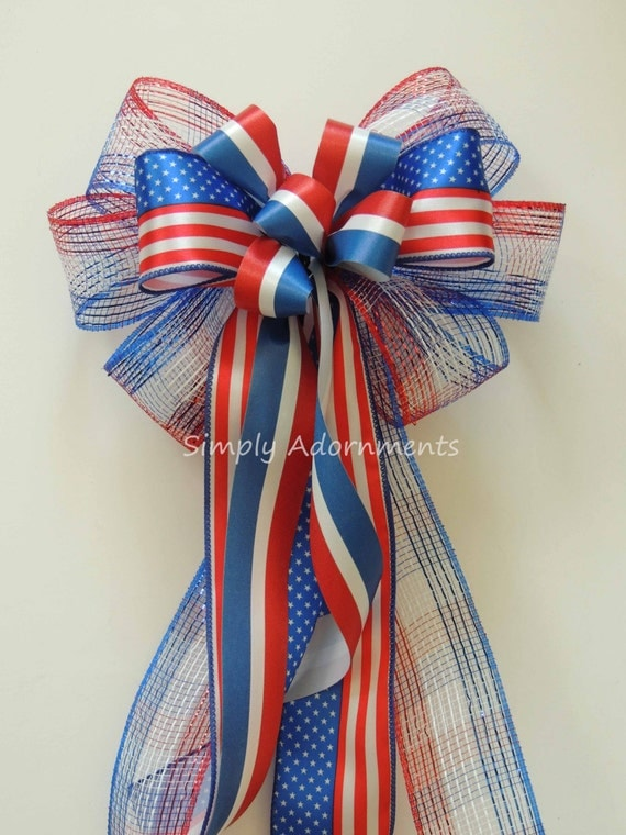 Patriotic Wreath Bow 4th of July Wreath Bow, Red white and blue bow, July 4th door decor,  Memorial Day Decoration Independence Day Decor.