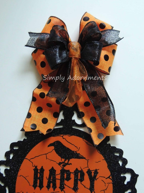 Black Orange Halloween Door Bow Halloween Lantern Swag Bow Black Dots Wreath Bow Black Orange Halloween Polka Dots bow Halloween Party Decor