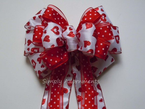 Valentine Christmas Tree Bow Glitter Red Heart Valentine Bow Red Valentine Heart Wreath Bow Red Valentine Wedding Pew Bow Valentine Gift Bow