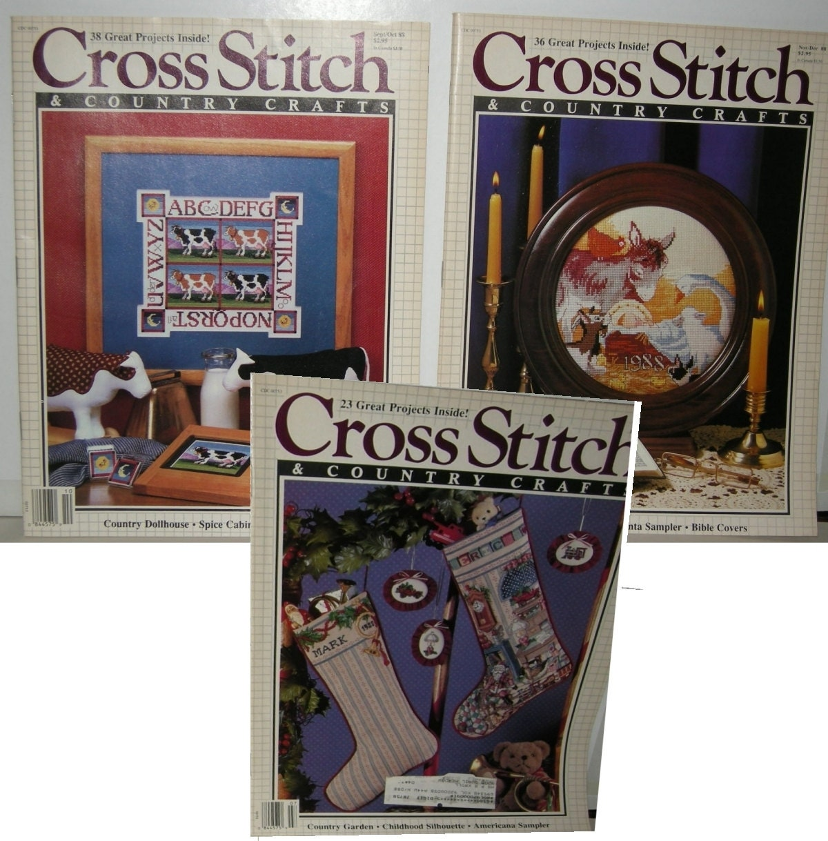 Cross stitch country crafts magazine back issues - Vintage Cross Stitch Sewing Patterns Magazines Country Crafts 3 Issues 1988 Embroidery Samplers Christmas Stockings Pictures 97 Projects