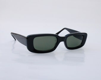 Vintage 90s Squared Sunglasses / Black rectangle shades -  NOS Dead Stock Clubkid/cyber/raver