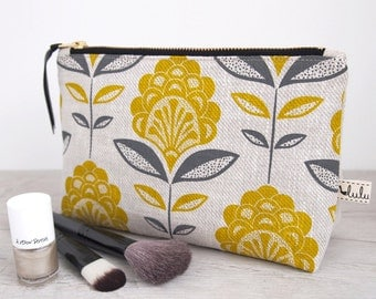 Large peacock flower print make up bag