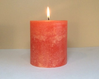 """4"""" Wide Rustic Peachy Orange Unscented Pillar Candle - Choose 4"""", 6"""" or 9"""" Tall"""