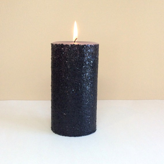 Black glitter pillar candle graduation by stillwatercandles for Shimmer pillar candle