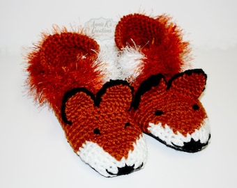 Suede Sole Adult Fox Slippers - Fox Slippers, Unique Gift