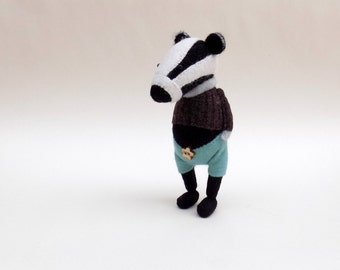 Woollen Badger  -  Handmade woollen plush badger wearing brown woolly pullover and turquoise felt pants.