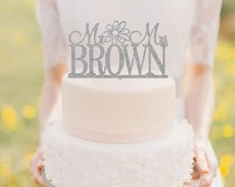 Glitter Wedding Cake Topper - Sparkle Cake Topper - Mr & Mrs Wedding Cake Topper