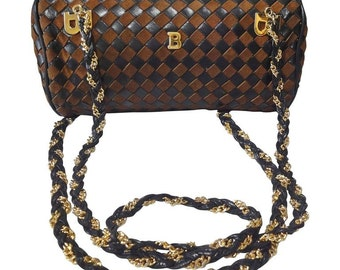 Vintage Bally brown and dark brown intrecciato leather drum design chain shoulder bag. Unique purse with golden B logo charms.