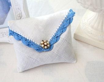 Vintage Handkerchief and Earring, Handmade Sachet, Fragrant Dried Lavender Sachet with Tatted Edge, Drawer Freshener, Gifts for Her
