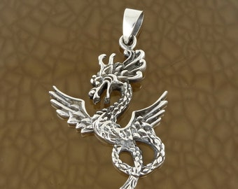 Sterling Silver Flying Dragon Pendant