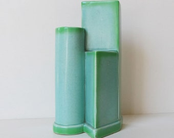 Mid-Century, Sublime! 3-Part, Gorgeous Blue and Green, Sculptural Pottery Vase,...He Has a Name