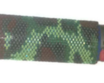 Green Camo Beaded Lighter Cover