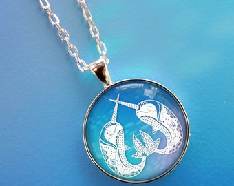 "Narwhal Necklace - Printed Papercut Illustration Pendant with 24"" Silver Chain"