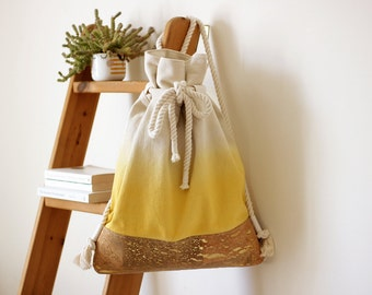Yellow Ombre + Cork Leather Backpack With Cotton Rope straps / Yellow Dip Dye bag / Vegan Leather Bag / Messenger Bag / yellow bag