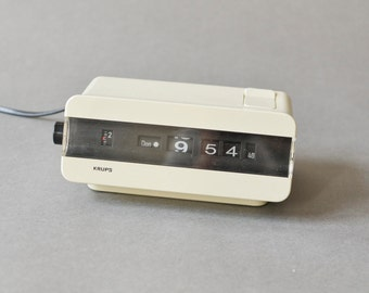Vintage Krups flip clock alarm clock West German Type 621 white space age atomic Mid-Century 60s 70s