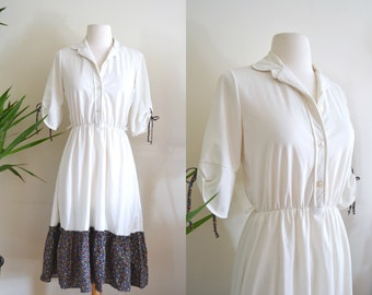 1970s Collared Peasant Dress, Cream Retro Folk Mid Length Vintage Dress