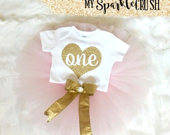Gold First Birthday Bodysuit and Pink Tutu, Gold Glitter One, Sparkle Outfit, 1st Birthday Outfit, Sparkle Birthday, Princess Birthday - One
