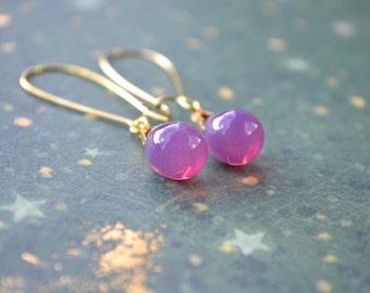 Pink & Gold Earrings, Glass Teardrop Earrings, Pink Dangle Earrings, Pink Jewelry Long Earrings, Dark Pink Bridesmaid Gift, Bead Earrings UK