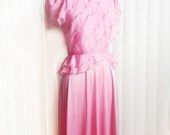 Vintage 70s pastel pink dress/ rose chiffon bridesmaid gown/diagonal chiffon ruffle layers/ small chiffon peplum/ formal gown