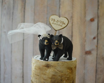 bear hunting groom wedding cake topper animal black bear camping hunter bear lover Mr and Mrs wedding sign country rustic barn bride groom