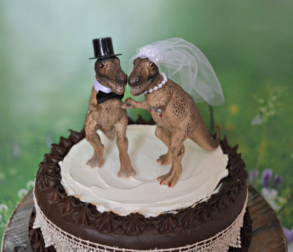 Dinosaur T Rex Wedding Cake Topper Monster Bride And Groom