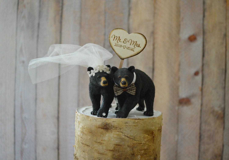 bear hunting groom wedding cake topper animal black bear
