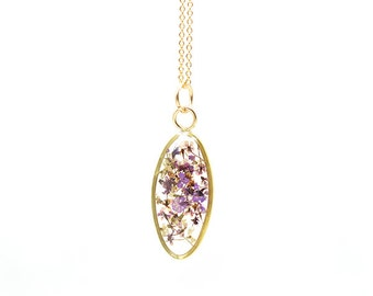 Floral Jewelry | Floral Necklace | Oval Necklace with Real Dried Flowers | Purple Floral Necklace | Gifts for Wife | Gifts for Her