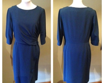 Vintage 1950s Blue Dress with Pom-Pom Buttons - L