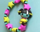 Scraps Stitched N Sewn - Lalaloopsy Frankenstein Girl Doll Stretch Bracelet with Neon Green and Fuchsia Stars and Black and Minty Blue Beads