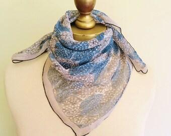 Silk chiffon vintage scarf, 1940s - 50s, feather motif, gray chiffon, grey feathers, hand rolled hem, delicate scarf, chiffon hairwrap