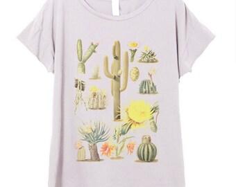 Womens Boho Vintage CACTUS Chart Print Southwest Festival Shirt Trendy Yoga Shirt Tee Top Retro Cotton Fashion Short Sleeve Tshirt S M L XL