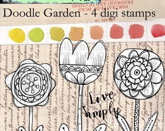 Doodle Garden - large flower digi stamps and a sentiment - 4 digi stamp bundle